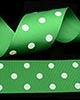 "1 1/2"" Grosgrain - DOTS Emerald w/White Dots (25 YD)"