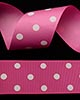 "1 1/2"" Grosgrain - DOTS Hot Pink w/White Dots (25 YD)"