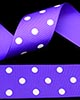 "1 1/2"" Grosgrain - DOTS Purple w/White Dots (25 YD)"