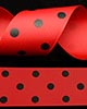 "1 1/2"" Grosgrain - DOTS Red w/Black Dots (Ladybug!) (25 YD)"