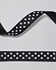 "3/8"" Grosgrain - DOTS Black w/White Dots (25 YD)"