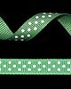 "3/8"" Grosgrain - DOTS Emerald w/White Dots (25 YD)"