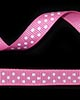 "3/8"" Grosgrain - DOTS Hot Pink w/White Dots (25 YD)"
