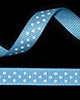 "3/8"" Grosgrain - DOTS Turquoise w/White Dots (25 YD)"