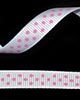 "3/8"" Grosgrain - DOTS White w/Hot Pink Dots (25 YD)"