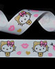 "7/8"" Grosgrain - Miss Kitty w/ Hearts on White (25 YD)"