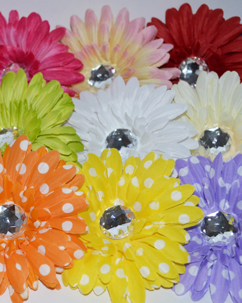"4"" Crystal Gerbera Flowers - Click Image to Close"