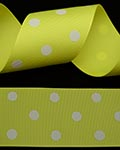 "1 1/2"" Grosgrain - DOTS Lemon w/White Dots (25 YD)"