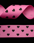 "1 1/2"" Grosgrain - Hearts - Hot Pink w/ Black Hearts (25 YD)"