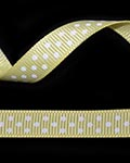"3/8"" Grosgrain - DOTS Lemon w/White Dots (25 YD)"