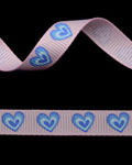 "3/8"" Grosgrain - Big Hearts - Blue Mist on Pearl Pink (25 YD)"