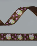 "3/8"" Grosgrain - Owl on Brown (25 YD)"