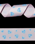 "1 1/2"" Grosgrain - Big Hearts - Blue Mist on Pearl Pink (25 YD)"