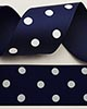 "1 1/2"" Grosgrain - DOTS Navy w/White Dots (25 YD)"