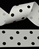 "1 1/2"" Grosgrain - DOTS White w/Black Dots (25 YD)"