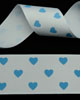 "1 1/2"" Grosgrain - Hearts - Vapour w/Turquoise Hearts (25 YD)"