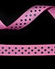 "3/8"" Grosgrain - DOTS Hot Pink w/Black Dots (25 YD)"