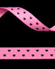 "3/8"" Grosgrain - Hearts - Hot Pink w/ Black Hearts (25 YD)"
