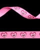 "3/8"" Grosgrain - Big Hearts - Shocking Pink on Hot Pink (25 YD)"