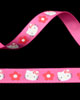 "3/8"" Grosgrain - Miss Kitty w/ Flowers on Hot Pink (25 YD)"