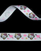 "3/8"" Grosgrain - Miss Kitty w/ Hearts on White (25 YD)"