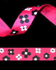 "5/8"" Grosgrain - Shocking Pink Flowers (25 YD)"