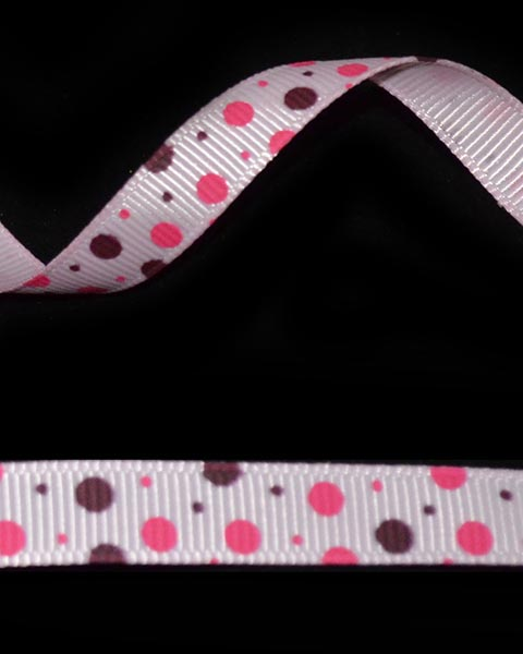 "3/8"" Grosgrain - DOTS Pearl Pink w/Shocking Pink & Wine (25 YD) - Click Image to Close"