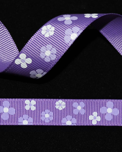 "5/8"" Grosgrain - Purple Flowers (25 YD) - Click Image to Close"