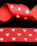 "1 1/2"" Grosgrain - Hearts - Red w/ Pearl Pink Hearts (25 YD)"