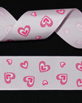 "1 1/2"" Grosgrain - Big Hearts - Hot Pink on Pearl Pink (25 YD)"
