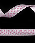 "3/8"" Grosgrain - DOTS Pearl Pink w/Hot Pink Dots (25 YD)"