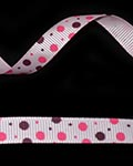 "3/8"" Grosgrain - DOTS Pearl Pink w/Shocking Pink & Wine (25 YD)"