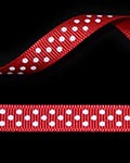 "3/8"" Grosgrain - DOTS Red w/White Dots (25 YD)"