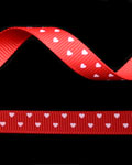 "3/8"" Grosgrain - Hearts - Red w/ Pearl Pink Hearts (25 YD)"