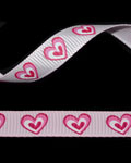"3/8"" Grosgrain - Big Hearts - Hot Pink on Pearl Pink (25 YD)"