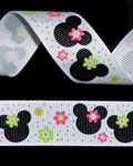 "7/8"" Grosgrain - Ms Mouse Flowers (Pink & Green) (25 YD)"