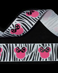 "7/8"" Grosgrain - Ms Mouse Zebra (25 YD)"