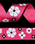 "7/8"" Grosgrain - Shocking Pink Flowers (25 YD)"